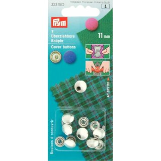Prym Cover Buttons without tool brass 11 mm silver col (7 pcs)