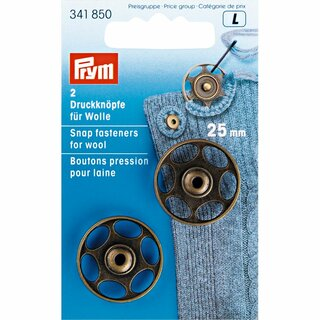 Prym Sew-On Snap Fasteners for wool 25 mm antique brass (2 pcs)