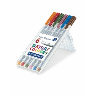Staedtler triplus® fineliner 334 Box with 6 sortierten Naturcolors